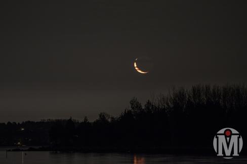 Crescent Moon over Bissel Cove (Landscape) - North Kingstown, RI