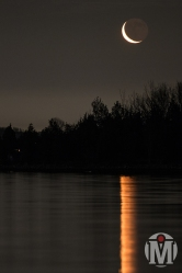 Crescent Moon over Bissel Cove (Portrait) - North Kingstown, RI