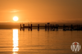 Dock Sunrise (Telephoto) - Town Beach in Wickford, RI
