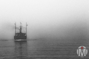 """""""American Pride"""" coming out of the fog - Pt. Judith, RI"""