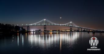 Newport Bridge with Crescent Moon