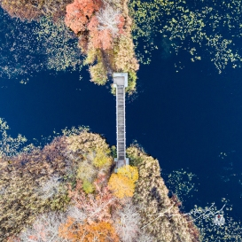 Pedestrian Bridge at Belleville Pond - Bird's Eye View at 150'
