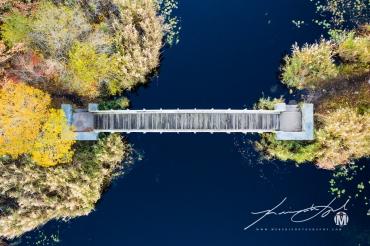 Pedestrian Bridge at Belleville Pond - Bird's Eye View at 50'